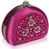 LSE00153 - Pink Beaded Pearl Rhinestone Clutch Bag