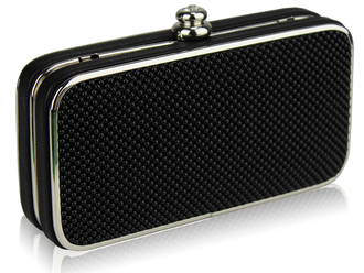 LSE00150 - Black Beaded Hard Case Evening Clutch