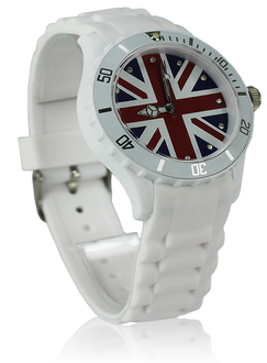 LSW007-Unisex White Union Jack Watch