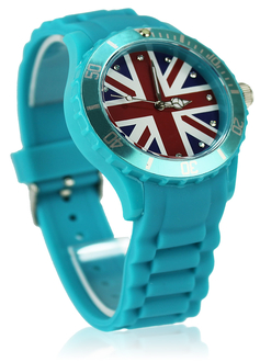 LSW007-Unisex Teal Union Jack Watch