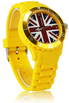 LSW007-Unisex Yellow Union Jack Watch