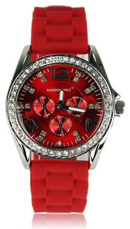 LSW002-Red Women's Diamante Watch