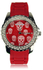 LSW003-Red Womens Skull Diamante Watch