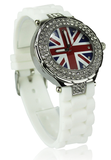 LSW009-Wholesale & B2B White Diamante Union Jack Watch Supplier & Manufacturer