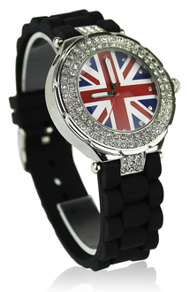 LSW009-Wholesale & B2B Black Diamante Union Jack Watch Supplier & Manufacturer
