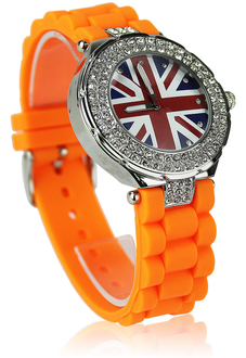 LSW009-Orange Diamante Union Jack Watch