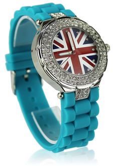 LSW009-Teal Diamante Union Jack Watch