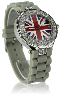 LSW009-Wholesale & B2B Grey Diamante Union Jack Watch Supplier & Manufacturer