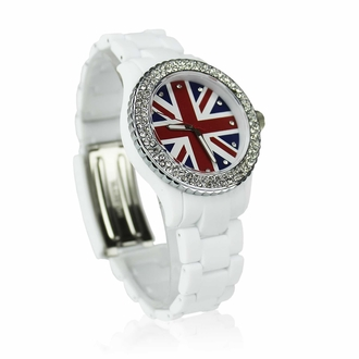 LSW008-White Diamante Union Jack Watch