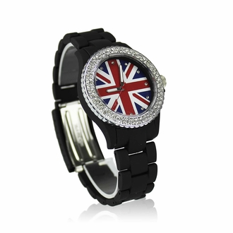 LSW008-Wholesale & B2B Black Diamante Union Jack Watch Supplier & Manufacturer