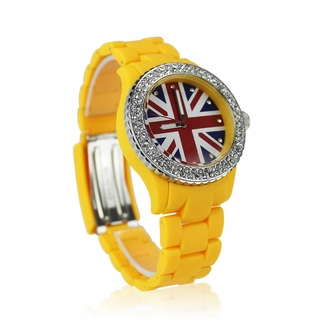 LSW008-Wholesale & B2B Yellow Diamante Union Jack Watch Supplier & Manufacturer