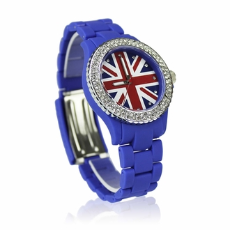 LSW008-Blue Diamante Union Jack Watch