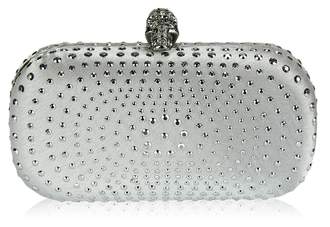 LSE00146-Ivory Satin Clutch Bag With Crystal-Encrusted Skull Clasp