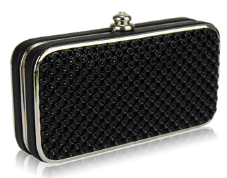 LSE00149 - Black  Hard Case Evening Clutch