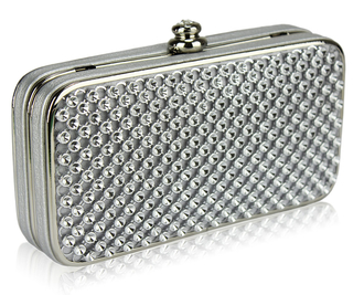 LSE00149 - Silver Hard Case Evening Clutch