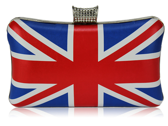 LSE00159-Union Jack Clutch Bag With Crystal-Encrusted  Clasp