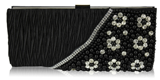 LSE00161-Black Satin Beaded Clutch Bag With Crystal Decoration