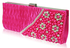 LSE00161-Pink Satin Beaded Clutch Bag With Crystal Decoration