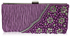 LSE00161-Purple Satin Beaded Clutch Bag With Crystal Decoration