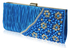 LSE00161-Teal Satin Beaded Clutch Bag With Crystal Decoration