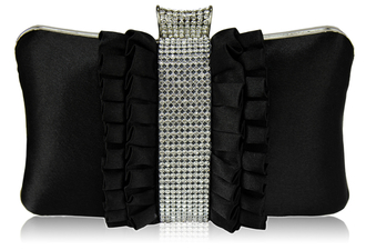 LSE00164 - Gorgeous Black Crystal Strip Clutch Evening Bag