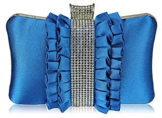 LSE00164 - Gorgeous Teal Crystal Strip Clutch Evening Bag