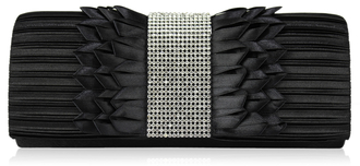 LSE00165 - Black Ruched Satin Clutch With Crystal Trim