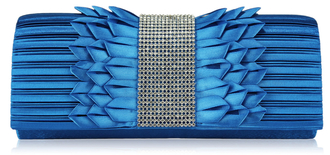 LSE00165 - Teal Ruched Satin Clutch With Crystal Trim