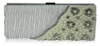 LSE00161-Ivory Satin Beaded Clutch Bag With Crystal Decoration