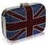LSE00156- Women's Teal Union Jack Box Clutch