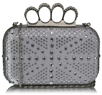 LSE00157- Silver Women's Knuckle Rings Evening Bag