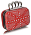 LSE00157- Red Women's  Knuckle Rings Evening Bag
