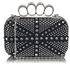 LSE00157- Black/Silver Women's  Knuckle Rings Evening Bag