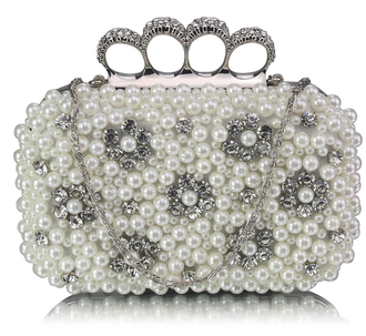 LSE00158- Wholesale & B2B Ivory Women's Knuckle Rings Clutch With Crystal Decoration Supplier & Manufacturer