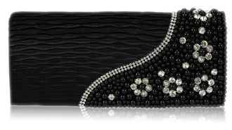 LSE00160-Black Satin Beaded Clutch Bag With Crystal Decoration