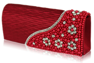 LSE00160-Red Satin Beaded Clutch Bag With Crystal Decoration