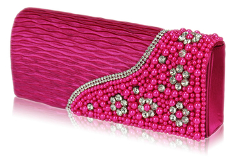 LSE00160-Pink Satin Beaded Clutch Bag With Crystal Decoration