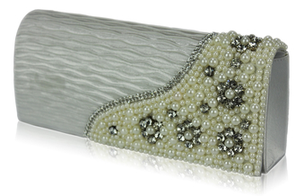 LSE00160-Ivory Satin Beaded Clutch Bag With Crystal Decoration
