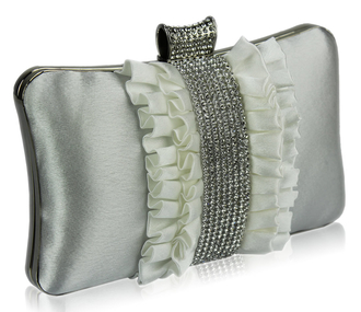 LSE00164 - Gorgeous Ivory Crystal Strip Clutch Evening Bag