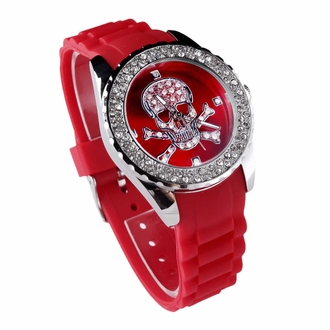 LSW004- Women's Red Skull Diamante Watch