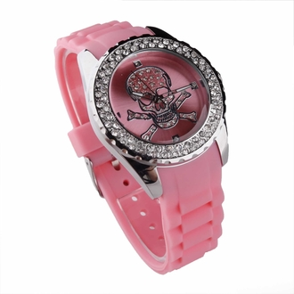 LSW004- Women's Pink Skull Diamante Watch