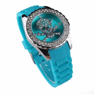 LSW004- Women's Teal Skull Diamante Watch