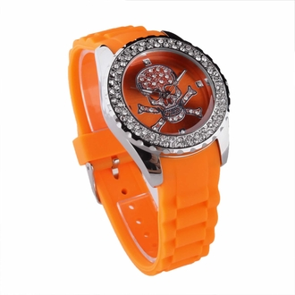 LSW004- Women's Orange Skull Diamante Watch