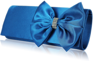 LSE0013 - Teal Satin Clutch with Giant Bow and Crystal  Brooch