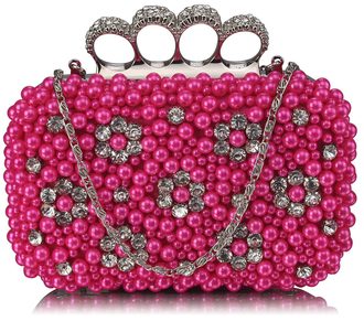 LSE00158- Wholesale & B2B Pink Women's Knuckle Rings Clutch With Crystal Decoration Supplier & Manufacturer