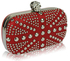 LSE00135-Red Studded Clutch Bag With Crystal-Encrusted Skull Clasp