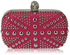 LSE00135- Wholesale & B2B Fuchsia Studded Clutch Bag With Crystal-Encrusted Skull Clasp Supplier & Manufacturer