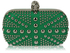 LSE00135- Green Studded Clutch Bag With Crystal-Encrusted Skull Clasp