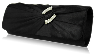 LSE00175-Black Satin Clutch Bag With Crystal Decoration