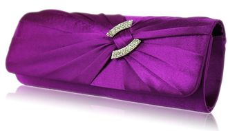 LSE00175-Wholesale & B2B Purple Satin Clutch Bag With Crystal Decoration Supplier & Manufacturer
